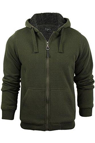 Brave Soul Westace Zone Zip Up Sherpa - Chaqueta con Capucha para Hombre Verde Caqui XL