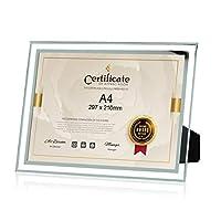 WECOLOR フォトフレーム A4 ガラス おしゃれ 写真 立て ポスター 感謝状 賞状額縁 ギフト スタンド タイプ