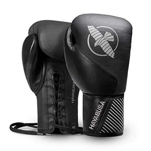 Hayabusa Classic - Guantes de Boxeo (Piel), Color Negro, 12oz, Negro
