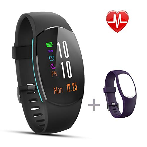 Sport Fitness Tracker IP68 Waterproof Smart Bracelet with Pedometer Step Counter Watch and Sleep Monitor Calorie Counter Weather Watch Activity Tracker for Android and iOS