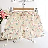 Albornoz Pijama de la señora del verano nuevos de gasa de algodón pantalones cortos quinto doble de gasa pijama pijamas pequeña de flores al por mayor de Albornoz (color: amarillo, tamaño: L) chal toa