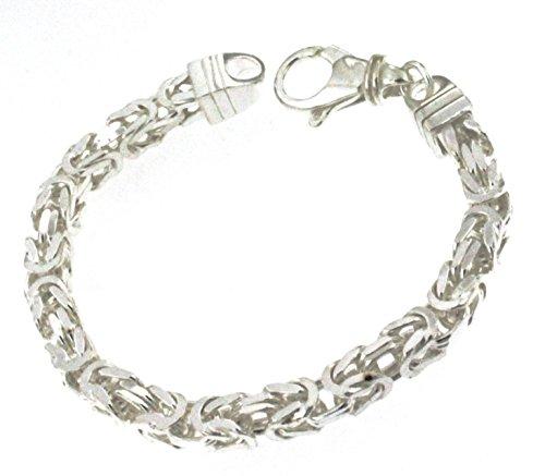 Königsarmband 925 Silber 8 mm 25 cm Silber-Armband Damen Herren-Armband Herren-Schmuck ab Fabrik tendenze Italy D-BZ8-25v