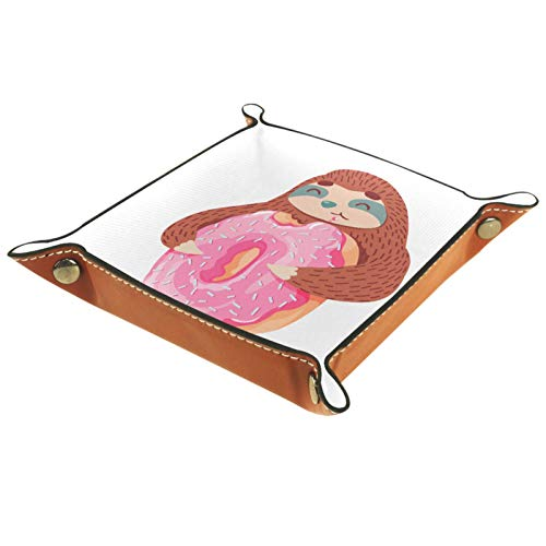 XiangHeFu Bandeja de Cuero Perezoso con rosquillas Rosas Almacenamiento Bandeja Organizador Bandeja de Almacenamiento Multifunción de Piel para Relojes,Llaves,Teléfono,Monedas