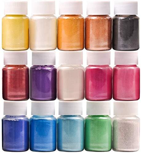 Dewel 15 Botes 10g pigmentos en polvo de Mica para teñir resina epoxi transparente,colorante jabon, bombas de baño, hacer slime, Maquillaje,uñas.