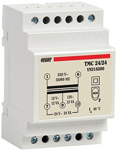 Vemer vn318200Transformador TMC 24/24de Barra DIN para Servicio Continuo 230V/12â24V, Gris Claro
