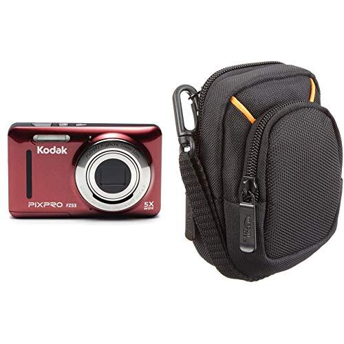 Kodak Pixpro FZ53 fotocamere digitali 16,44 Mpix Zoom ottico 5 x & Amazon Basics - Custodia per fotocamera compatta, misura media