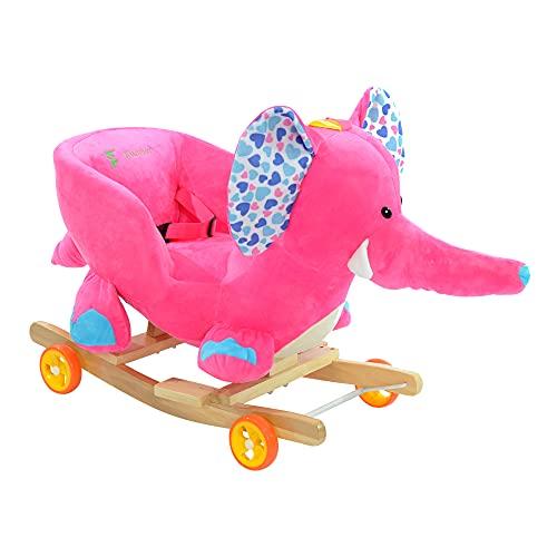 Bambino cavallo a dondolo 2 in 1 sedia a dondolo con ruote e vivaio musica per lo sviluppo del bambino (elefante rosa)