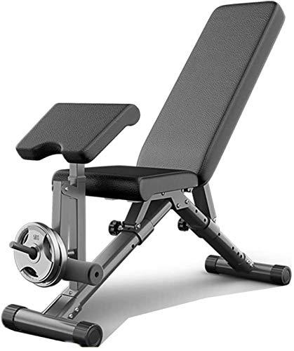LOXZJYG Einstellbare Faltbare Fitness Gewichtheben Bett, multifunktionale Hantelbank, Flache und geneigte absteigende multifunktionale Fitnessbank für Männer und Frauen, schwarz