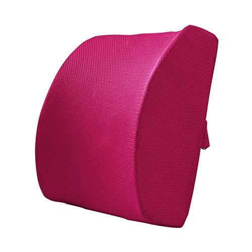 Premium lendensteun kussen traagschuim onderrug steunkussen voor thuis, bureaustoel en auto Nieuw ergonomisch ontwerp met coole mesh-stof-Net rose rood