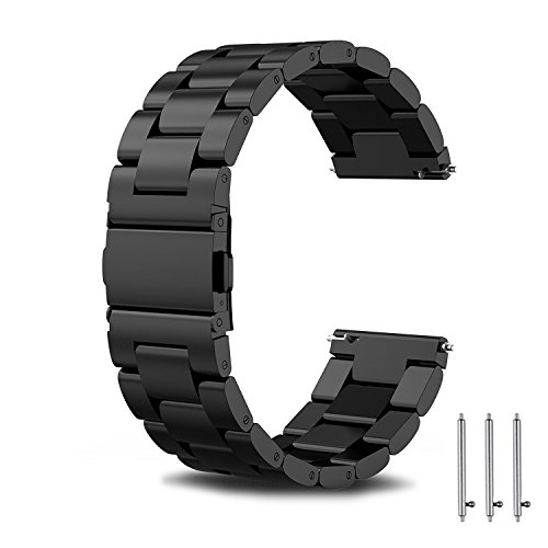 Compatible for Samsung Gear S3 Frontier/Classic Band/Galaxy Watch 46mm Bands,TOROTOP 22MM Stainless Steel Watch Band Replacement Metal Band for Gear S3 Classic/Frontier Smart Watch Band Black