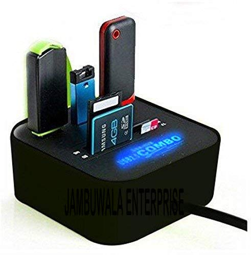 Jambuwala Enterprise® All in One USB Hub Combo 3 USB Ports and All in one Card Reader, USB 2.0, for Pen Drives/Cameras/Mobiles/PC/Laptop/Notebook/Tablet, Docking Station, MS/MS Pro/SD/Micro SD Support
