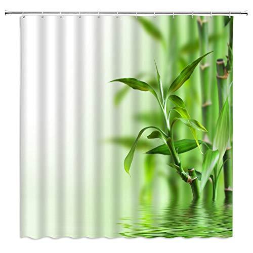 Fmiljiaty 3D Digitaldruck Duschvorhang Badvorhänge 3D wasserdichte Duschvorhänge Green Plant Bambus Badezimmer Vorhänge Druck Polyester Stoff Waschbare Badevorhänge Mit 12 Plastikhaken-180x200cm