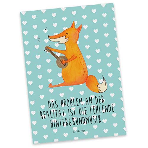 Mr. & Mrs. Panda Karte, Geschenkkarte, Postkarte Fuchs Gitarre mit Spruch - Farbe Türkis Pastell