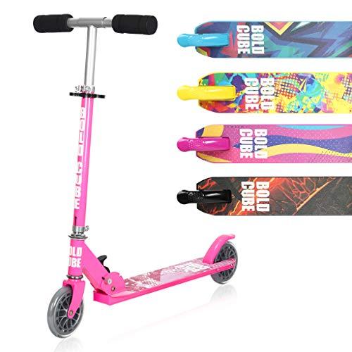 BOLDCUBE Faltbare Scooter Kinder mit PU Räder - für Kinder Jungen Mädchen ab 5-13 Jahre - bis 80KG Gewicht - mit 3 DREI Stufen Verstellbarer Lenkstange - der Sichere Premium Kinder Roller (Rosa)