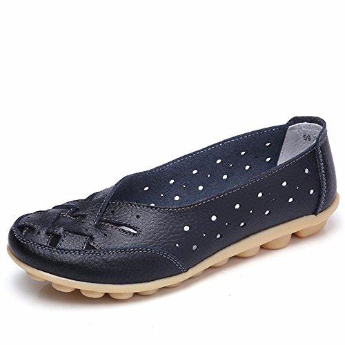 Gaatpot Damen Mokassin Lederschuhe Bootsschuhe Leicht Loafers Flache Fahren Schuhe Sommer Slippers Halbschuhe Schwarz 36EU=37CN