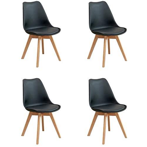 BesterStuhl - Juego de 4 sillas de Cocina Acolchadas de Piel con Base de Piel Natural y Patas de Madera