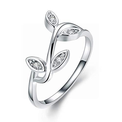 Good dress-ring Weibliche Romantische Ball Strass Zinn Legierung Pflanze Flache Ring Mode K Gold Einfachen Stil Geometrische Pflanze Persönlichkeit Ring, mit Platin überzogen, 8