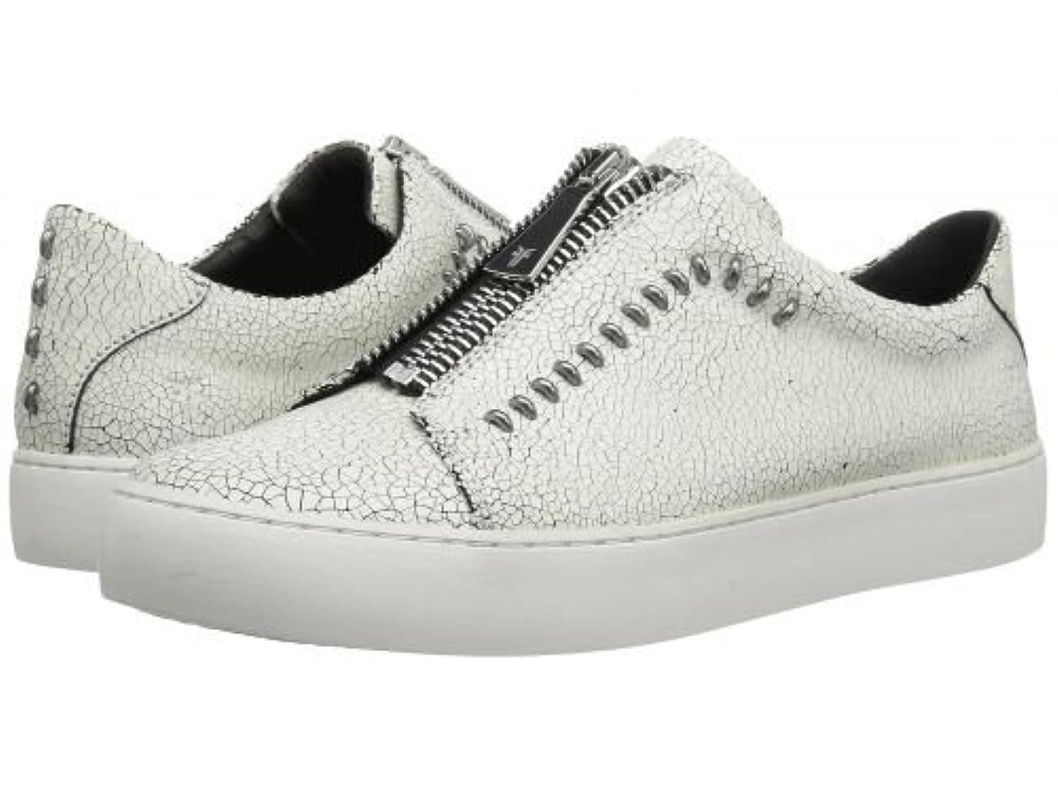 アカウント排除する観点Frye(フライ) レディース 女性用 シューズ 靴 スニーカー 運動靴 Lena Rebel Zip Low - White Crackle [並行輸入品]