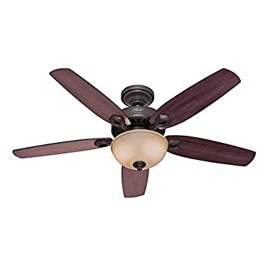 Hunter 53091 Builder Deluxe 5-Blade Single Light Ceiling Fan with Brazilian Cherry/Stained Oak Blades and Piped Toffee Glass Light Bowl, 52-Inch, New Bronze