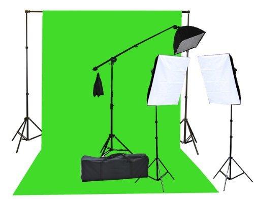 Fancierstudio 2000 Watt Lighting Kit with 10'x12' Chromakey Green Screen and Three Softbox Lights (One with Boom Arm Hairlight Softbox) for Studio Photography and Video Lighting (F9004SB 10x12G)