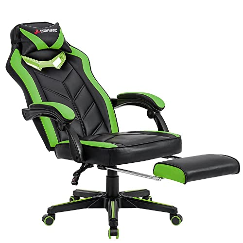 JL Comfurni Gaming Chair Desk Chair with Footrest Office Leather Computer Chair Racing Recliner Exclusive Hero Design High Back Swivel Chair Green