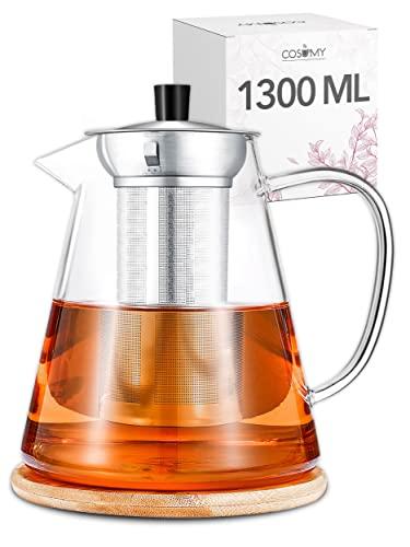 Teiera in Vetro Borosilicato con Filtro - Grande 1,3 l - Per Cucine a Gas e Elettriche - Con Sottobicchiere - Per Tè, Infusi