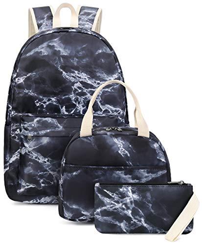 School Backpack Marble Teens Girls Boys Kids School Bags Bookbag with Laptop Sleeve (Marble black -9562-3)