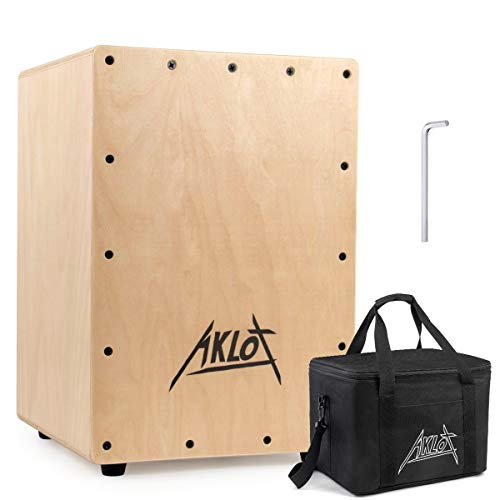 AKLOT Cajon Box Drum Wooden Percussion Box with Internal Adjustable Snares Birch Wood Compact