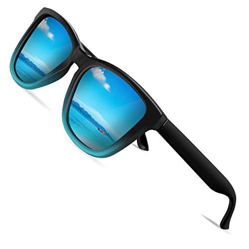 VVA Gafas de sol polarizadas para hombres Gafas de sol retro clásicas para hombres y mujeres para conducción al aire libre Protección unisex UV400 V105(Azul/Negro)