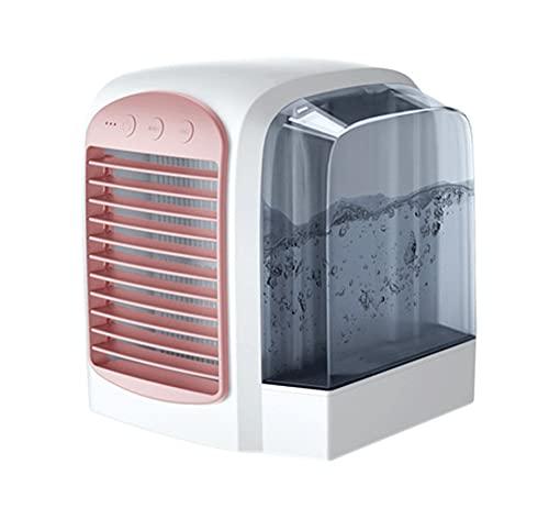 Aire acondicionado portátil, enfriador de aire portátil USB, ventilador de escritorio silencioso, humidificador de niebla para el hogar, oficina, dormitorio (rosa)
