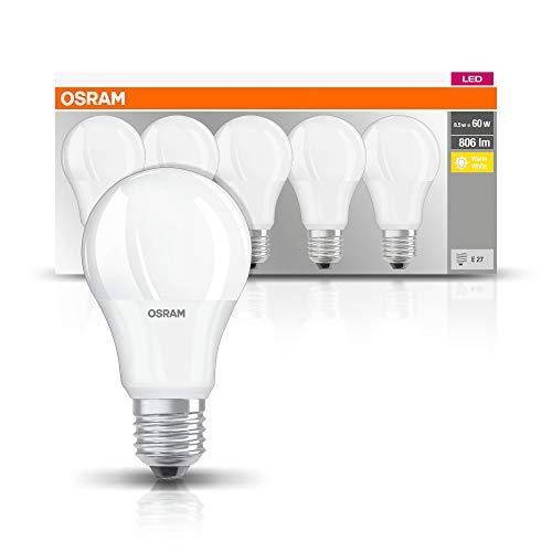 Osram LED Base Classic A Lampe, Sockel: E27, Warm White, 2700 K, 8, 50 W, Ersatz für 60-W-Glühbirne (5 Stück)