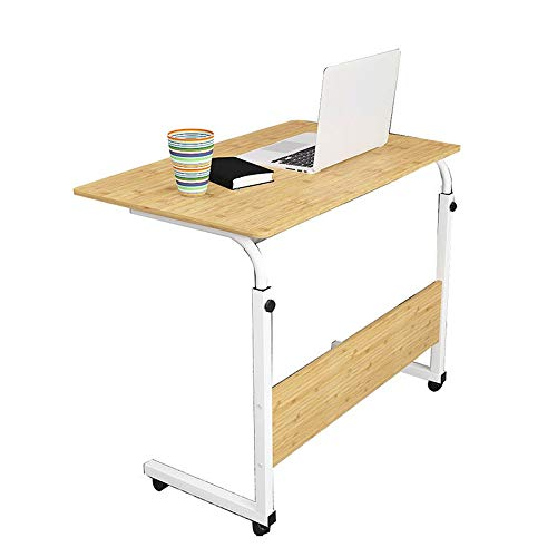 EVFIT Escritorio de computadora Mesa Lateral móvil, móvil Ajustable w/Tablet Ranura Ruedas, Laptop Stand portátil for sofá Cama (Color : Wood, Size : One Size)