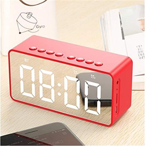 XFSE Red Bluetooth drahtlose tragbare Lautsprecher Säulenlautsprecher Stereo-Bass-Freisprecheinrichtung mit TF-AUX MP3-Player Wecker