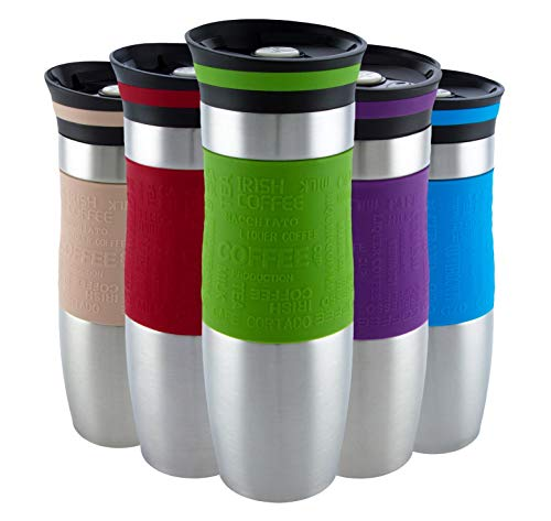 Insulated Vacuum Travel Mug, Reusable Flask with Silicone Handle, Thermal...