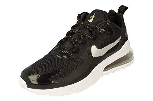 Nike - Air Max 270 React, Zapatos para mujer, Negro (Negro/Plateado metálico-Oro metálico), 35.5 EU