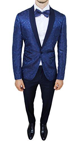 Abito Completo Uomo Sartoriale Blu Tessuto Raso Floreale Slim Fit Vestito Smoking Elegante (48)