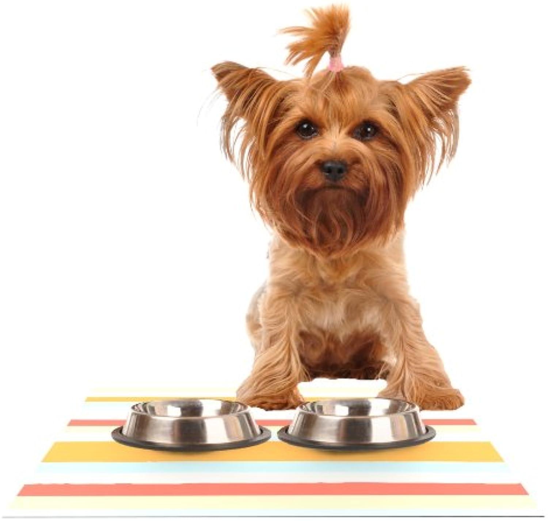 Kess InHouse Nika Martinez Sand Stripes  Feeding Mat for Pet Bowl, 18 by 13Inch