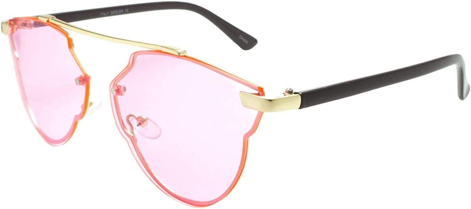 EGO Eyewear 3201 Sunglasses Metal and plastic cat eye frame Adjustable silicone nose pieces Light shades