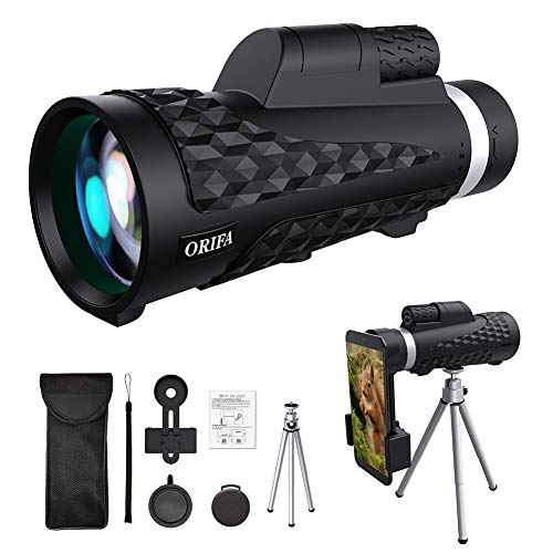 ORIFA Monocular Telescope, 18X62 High Power HD Monocular Scope Waterproof Monoculars with Phone Clip and Tripod for Cell Phone for Birdwatching, Traveling, Hunting