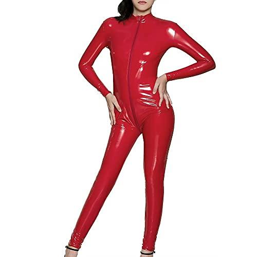 DULEE Damen Wetlook Faux Leder Zipper Ganzanzug Kostüm Nachtclub Clubwear Tanzen Bodysuit Jumpsuit Dessous,Red 3XL