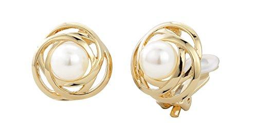 Traveller Ohrclip mit weisser 10mm Perle 22kt vergoldet - 113953