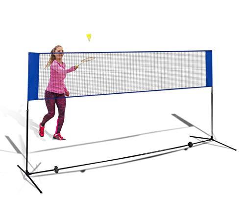 DREAMADE Badmintonnetz Höhenverstellbar, Tennisnetz mit Ständer, Federballnetz Minibadmintonnetz Multifunktionsnetz für Federball und Tennis