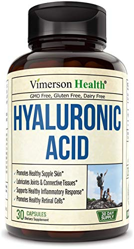 Hyaluronic Acid Capsules Natural Supplement. Maintain Skin Moisture and Joint Lubrication. Supports Healthy Connective Tissue. Promotes Healthy Skin, Hair, Nails and Bones (30 Capsules)