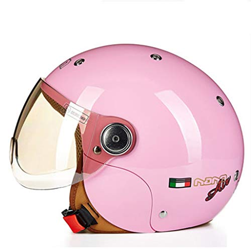 Casque pour enfants Mignon Quatre Saisons Moto Casque Électrique Casque Enfant Garçon Fille Été Hommes Et Femmes Bébé (Color : Pink)