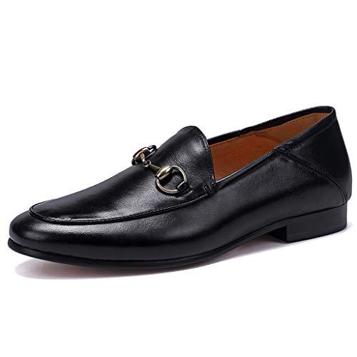 MERRYHE Herren Horsebit Loafers Mode aus echtem Leder Runde Zehe Bootsschuhe Casual Fahren Schuh Rauchen Schuhe,Black-43