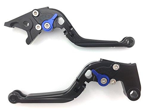 Paire de leviers ajustables et repliables en aluminium anodisé pour Ducati Multistrada MTS 1100 S 2007 2008 2009 (Noir/Bleu)