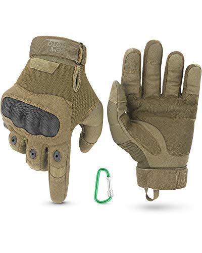 Taktische Handschuhe, Motorradhandschuhe mit Kletterschnalle, 3-Finger-Touchscreen, Amtungsaktive Einsatzhandschuhe mit Vollfinger für Fahrradfahren, Wander, Jagd(Braun,XL)