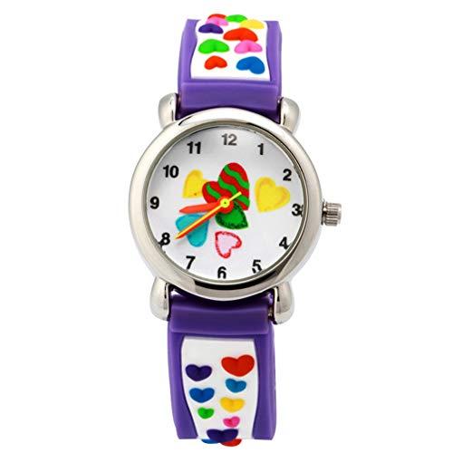 Hemobllo Children Watch - 3D Lovely Cartoon Watch Quartz Watch Love Heart Pattern Children Toddler Time Teacher Wrist Watch Gift for Little Kids Girls Boys