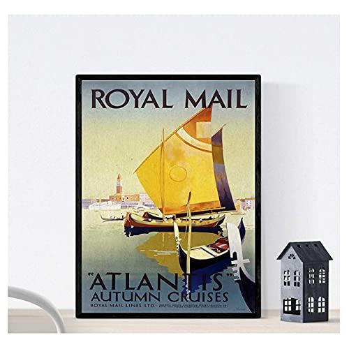 ZFLSGWZ Royal Mail Vintage Poster Europe Canvas Poster Och Print Wall Art Målning Bilder För Heminredning-50X70Cm -Frameless