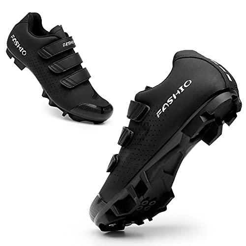 CHUIKUAJ Zapatillas de Ciclismo Hombre Mujer MTB Zapatillas de Bicicleta de Carretera Zapatillas con Cierre de Velcro Zapatillas de Bicicleta de Montaña Transpirables,Black-38EU